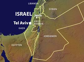 Karta över Israel ochPalestina